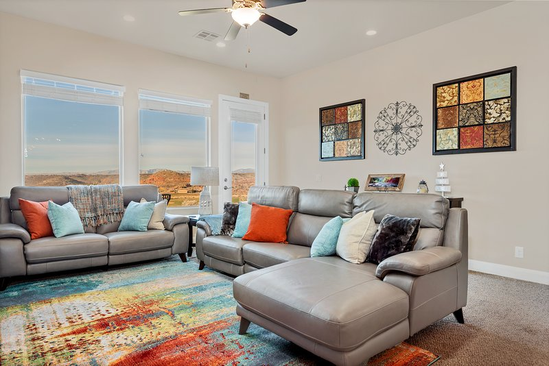 Family room featuring comfortable leather seating
