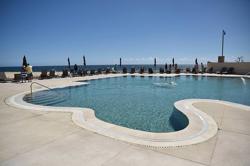 One of the pools lounges, overlooking the ocean