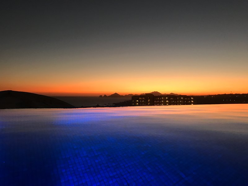 Looking toward Land's End at sunset from rooftop infinity jacuzzi