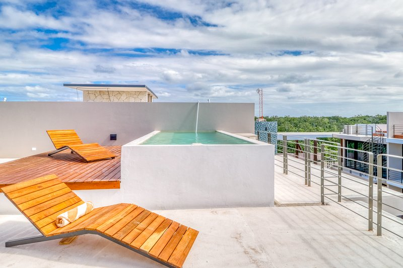 Penthouse with a private pool, rooftop, outdoor dining area, WiFi & partial AC!, location de vacances à Tulum