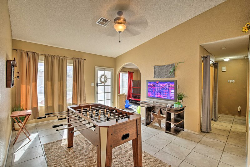 Play foosball and watch movies on the TV after your adventures.