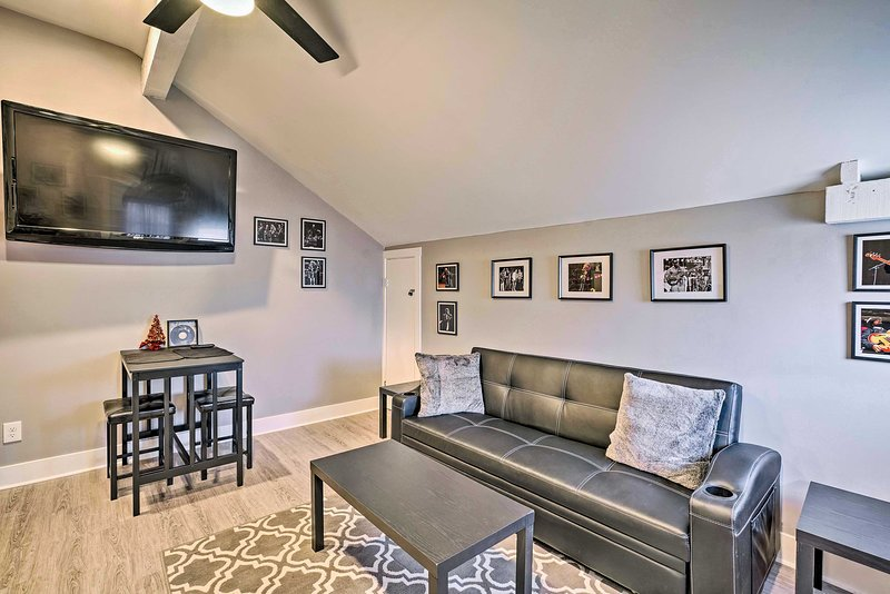 Enjoy the fully furnished interior and modern amenities at this vacation rental.