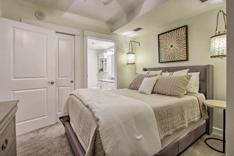 Curl up in this queen-sized bed.