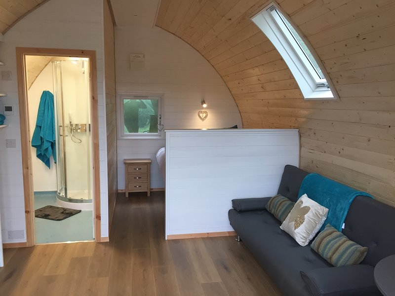 inside our Luxury Glamping pod, complete with underfloor heating