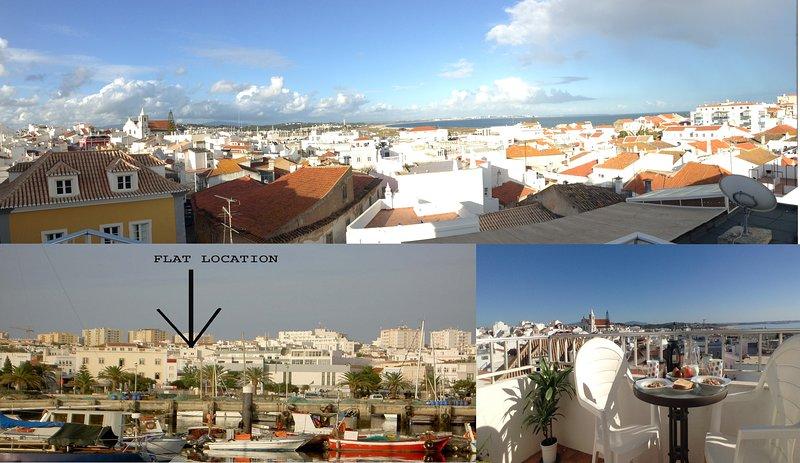 vista dell'appartamento dal porto e vista dal balcone frontale