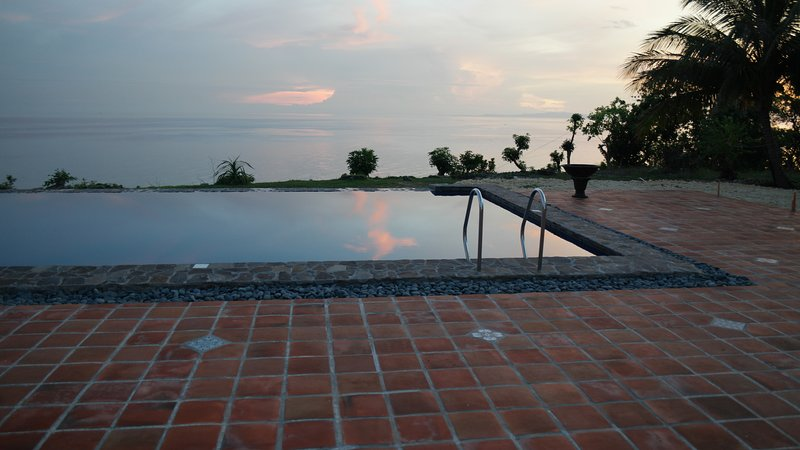 Our infinity pool as the sun sets.