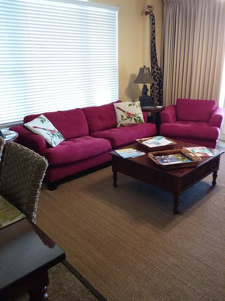 comfortable living room seating, couch can be converted to a queen bed