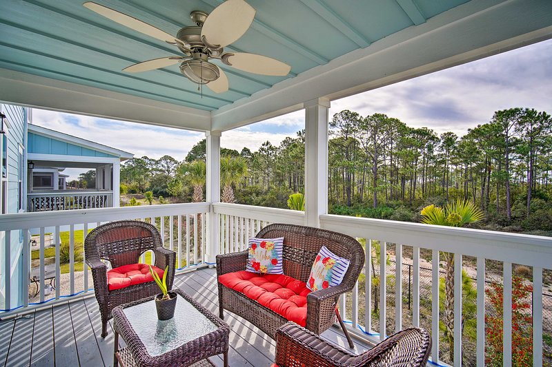Private Covered Deck   Patio Furniture   Lighting