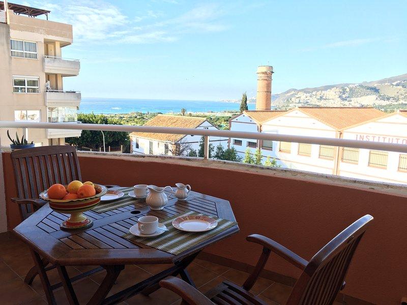Grande terrasse avec une vue magnifique.
