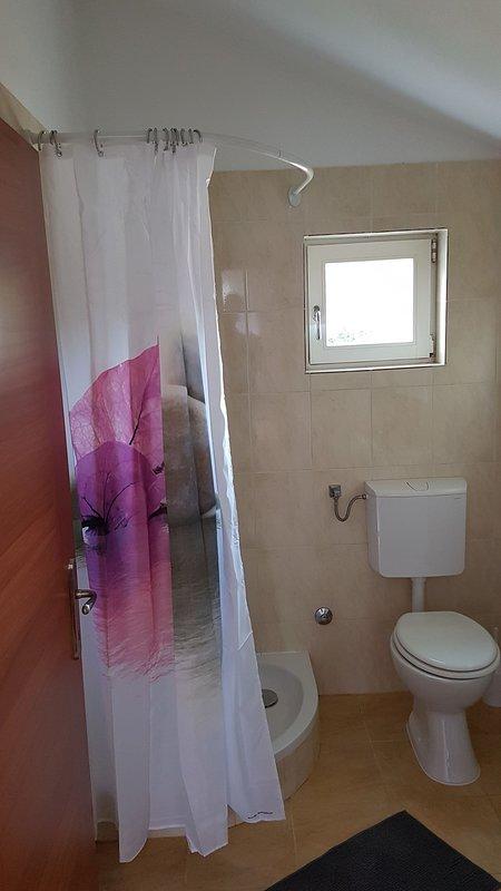 Camera, interna, servizi igienici, bagno, Tenda