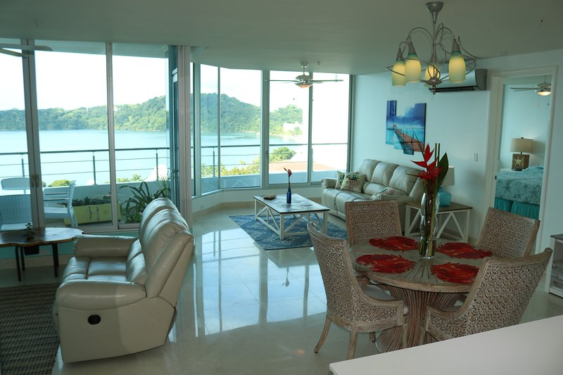 Breathtaking views, spacious living area.