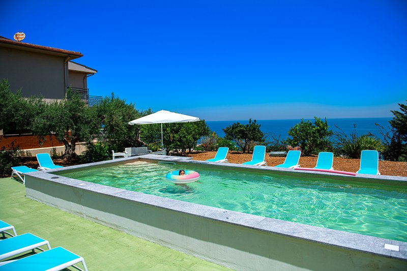 Beautiful private pool overlooking the Mediterranean Sea!