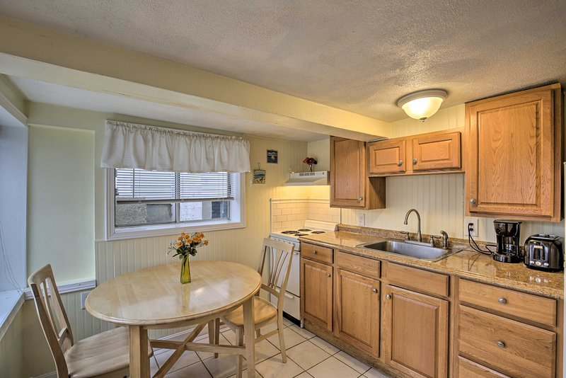The kitchen is brimming with natural light!