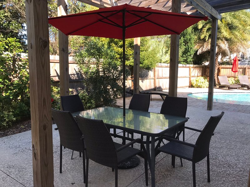 dining table on back patio.