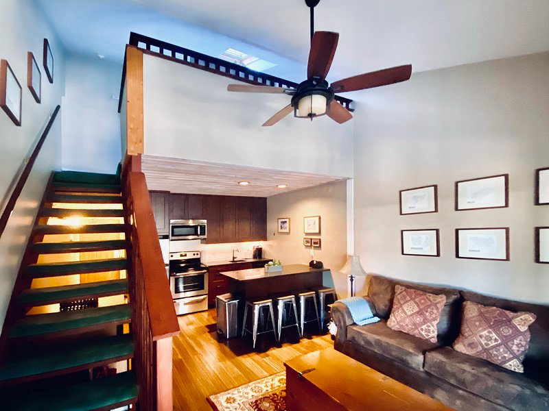 Open living area with vaulted ceiling and stairs to loft bed