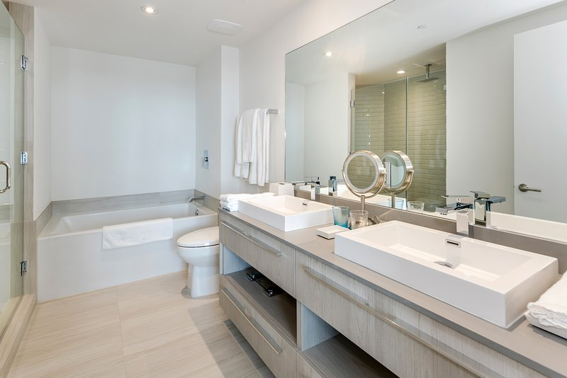 Our stunning Master bathroom, where you can decide whether to take a good shower or go right into the bathtub for a relaxing bubble bath! It includes towels, a hairdryer, and a starter kit.
