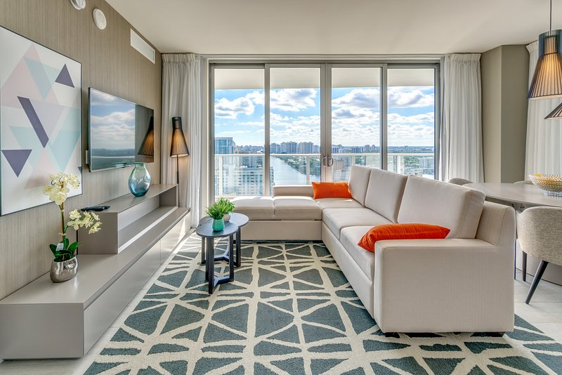 Our cozy living room with amazing views!