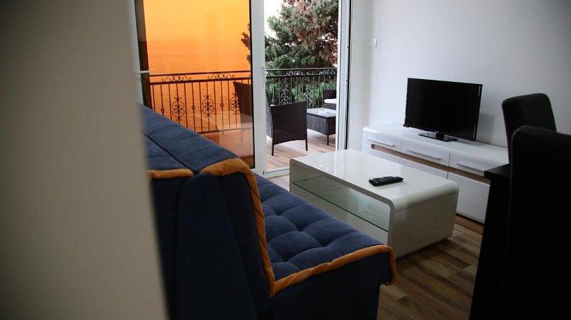 Soggiorno di un altro appartamento dotato di arredamento moderno accogliente e luminoso con uno stupendo