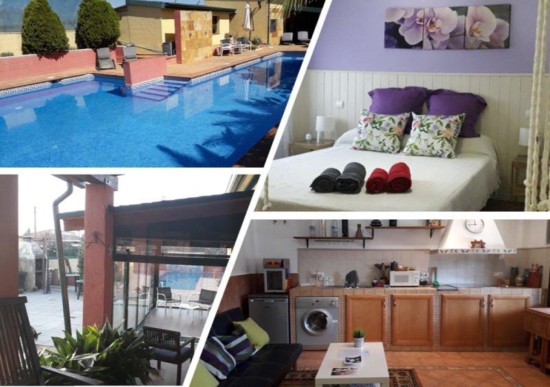 La Casita de Yuncos. Relax y buena vida. Apartamento en jardin privado y piscina, alquiler vacacional en Griñón