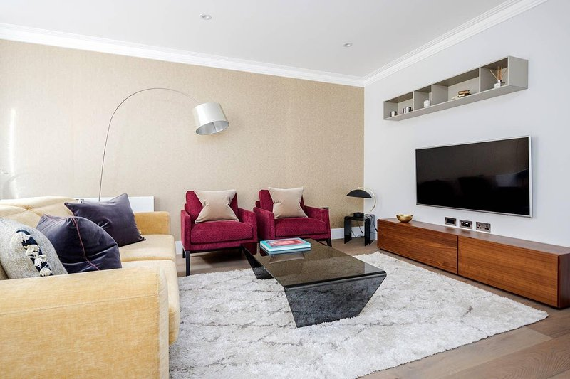 Bo-Concept è il marchio di mobili, divano con TV a grande schermo e pacchetto full sky.