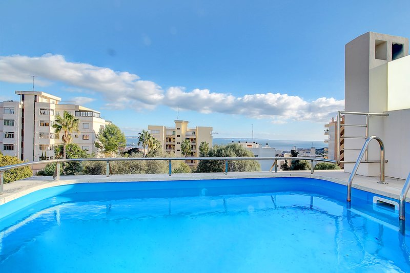 Villa Bonanova with pool and sea views over the Palma Bay, holiday rental in Puig de Ros