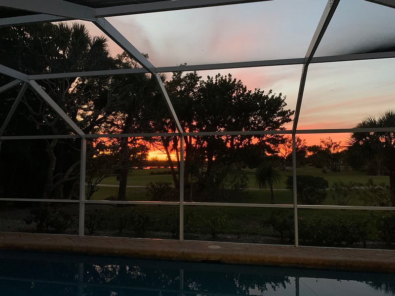 Gorgeous sunset views from the patio overlooking your pool!