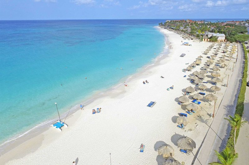 The white-sandy Divi Beach of Aruba