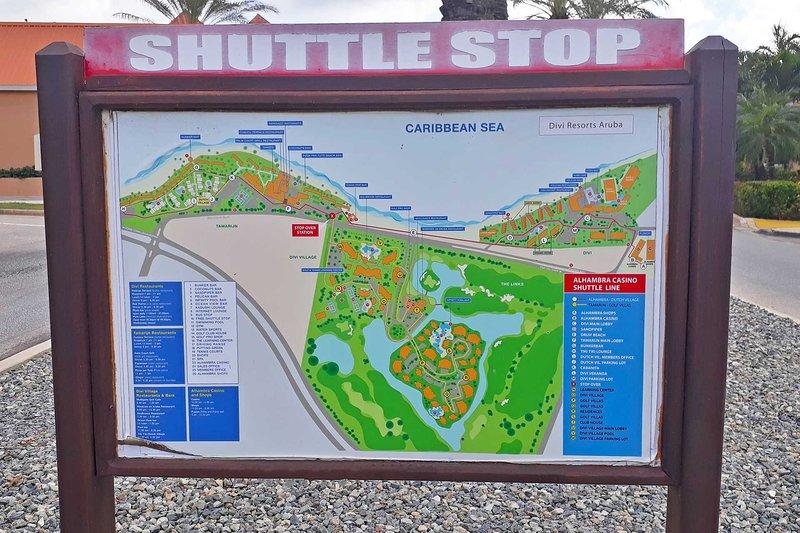 Los servicios gratuitos de Divi Shuttle Transportation paran el mapa