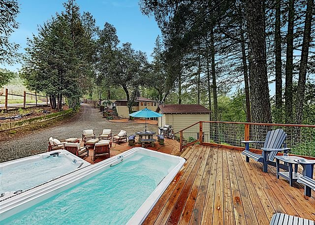 Luxe Vineyard-View Hideaway w/ Swim Spa & Hot Tub!, location de vacances à Glen Ellen