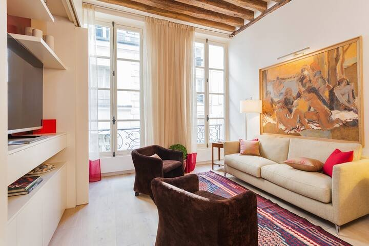 1039.STYLISH MODERN 2 BEDROOM APARTMENT IN THE HEART OF SAINT GERMAIN AND ODEON, holiday rental in Paris
