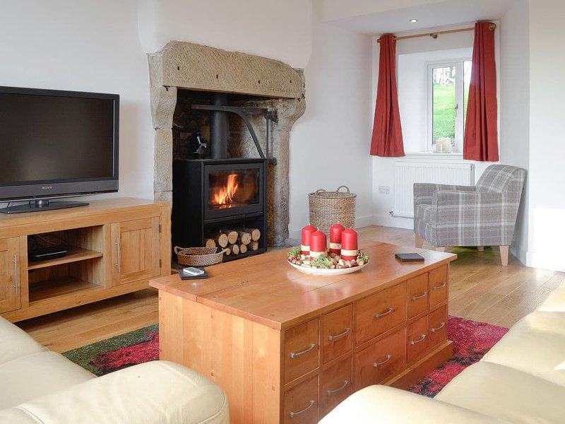 Gemütliches Wohnzimmer mit Holzofen