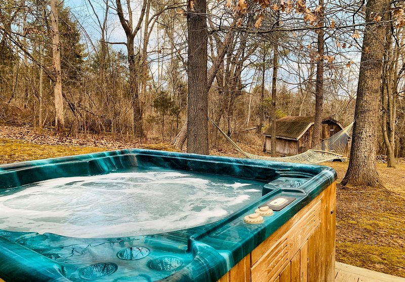 Sit in the bubbly hot tub or take a swing in the hammock!