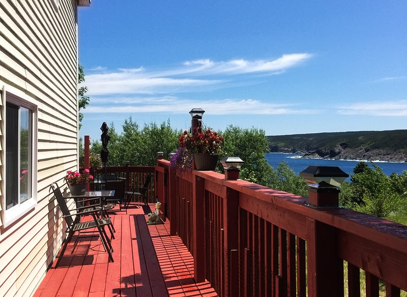 Country home 20 min from city has an ocean view, bird feeders, & a whirlpool tub, holiday rental in Newfoundland and Labrador