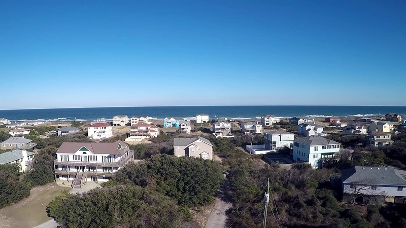 Aerial drone photo from above the DolphinInnOBX