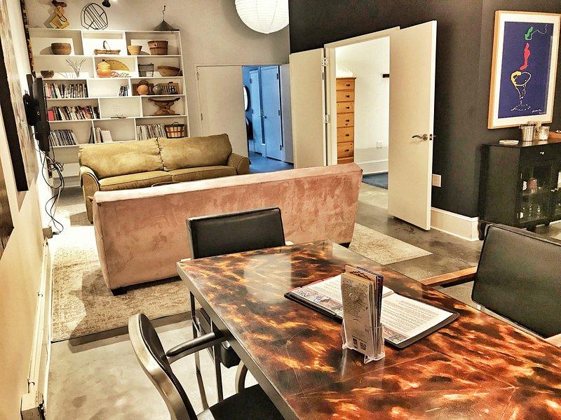 Loft style apartment in interior of building.