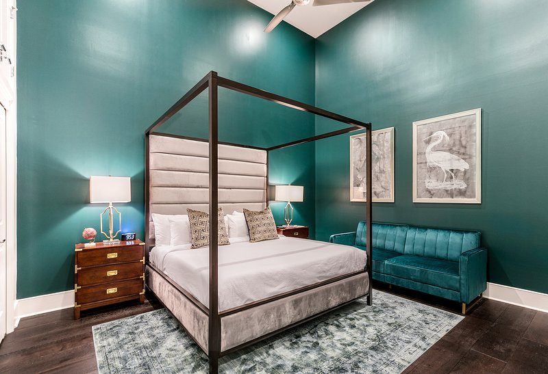 Master Bedroom features a 12' king memory foam mattress to ensure a great nights rest. We also provide a 6 Sound White Noise Machine and alarm clock. The sofa can also be used as a futon.