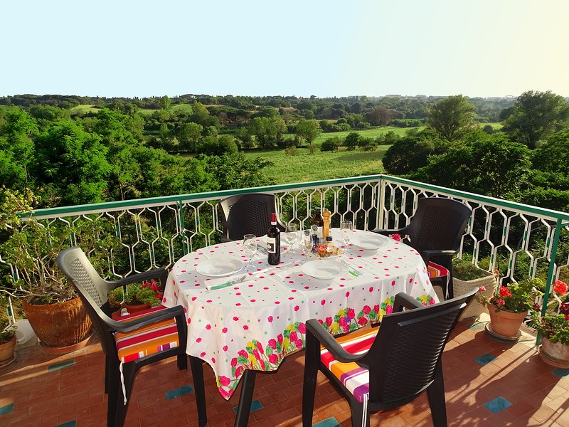 The big terrace overlooking the Caffarella Park, perfect for dinner at sunset!