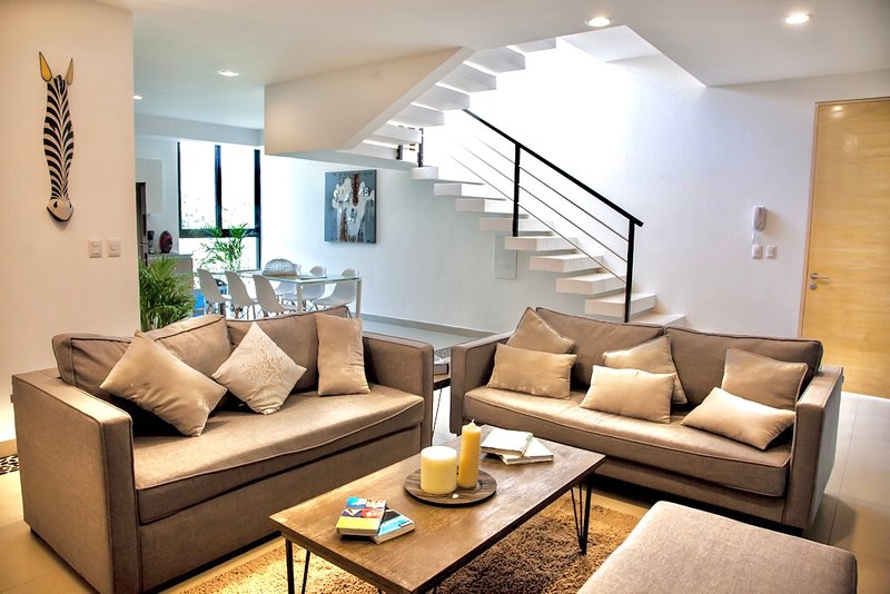 Open living area on the first level