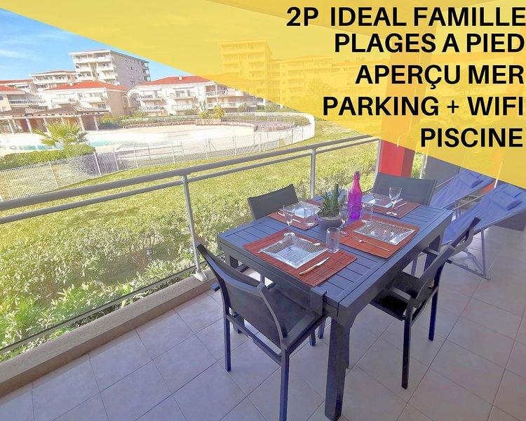 2P au pied des plages,Piscine,Wifi,Clim, holiday rental in Juan-les-Pins