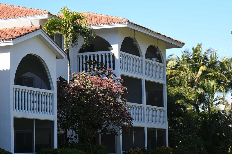Backyard view of B-2's lanai (center, 2nd floor of 3)