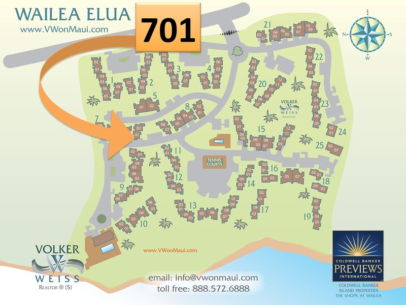Map of Elua Village showing the location of our condo