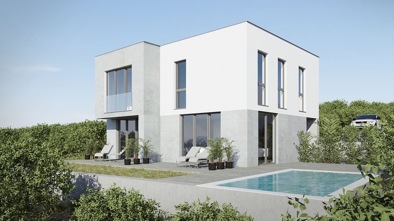 New modern house with 140m2 beautifull flat 3 bedrooms , 3 bathrooms own pool, holiday rental in Stara Novalja