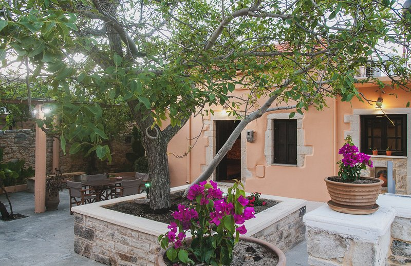 Stone Cottage with large Courtyard in Fres Village, vacation rental in Agioi Pantes