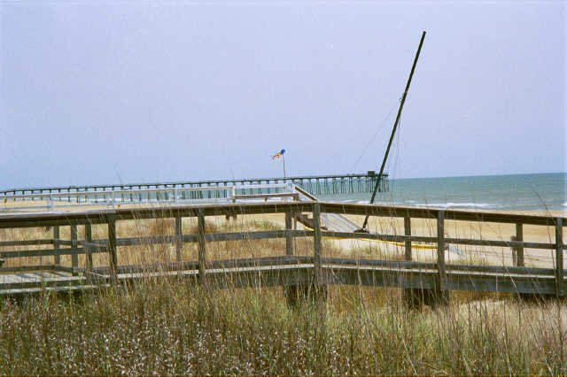 North view from the porch towards the Kure Beach Fishing pier (4blocks)