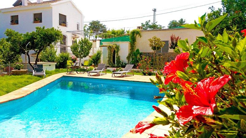 Clasica Villa Andaluza , rodeada de naranjos, fuentes, jardines y piscina, holiday rental in Carataunas