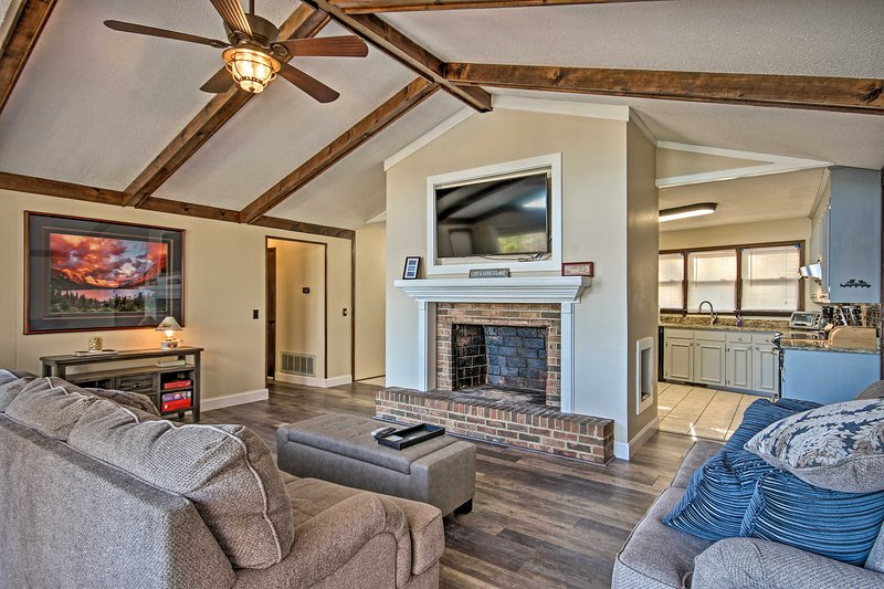 Cozy up under the vaulted ceilings for some much-needed downtime.