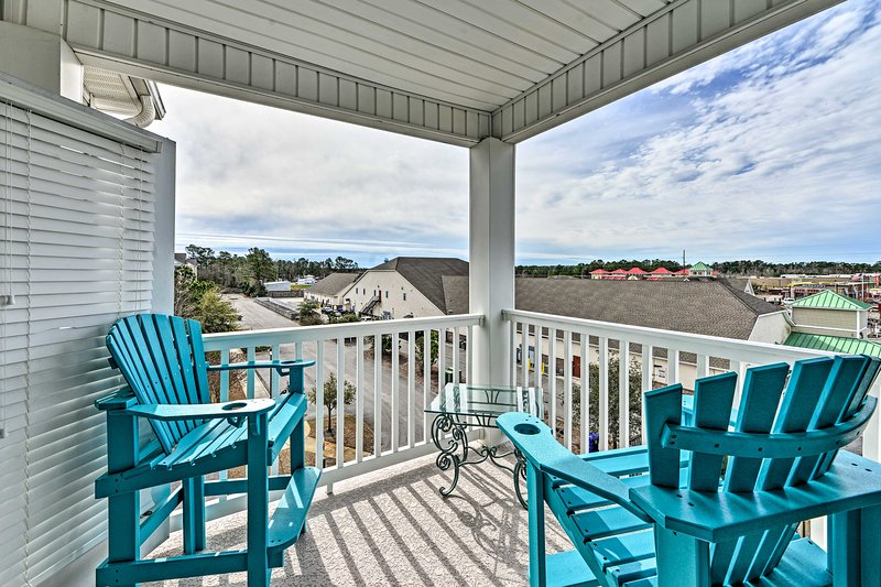 Begin and end each day on the vacation rental's furnished balcony.