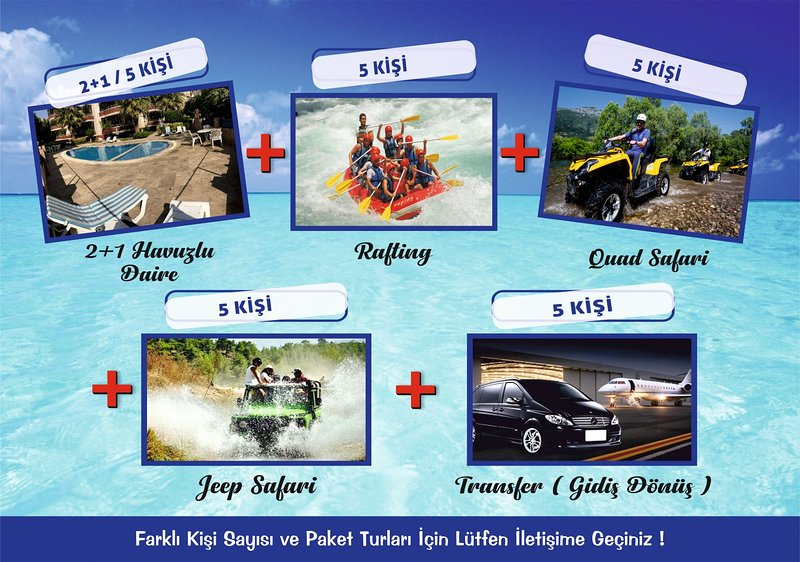 5 PERSON HOLIDAY PACKAGE-5 PERSON ACCOMODATION-RAFTING-QUAD SAFARI-AIRPORT TRANS, casa vacanza a Incekum