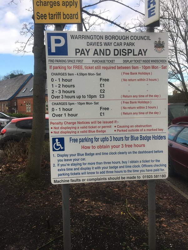 Nearest pay and display car park is Davies Way. Tariffs shown.