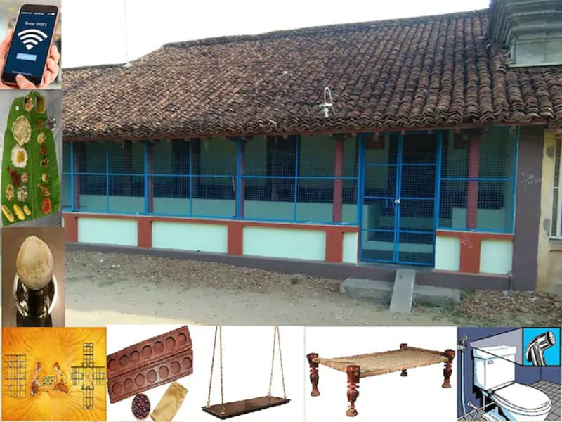 Exotic 150 yrs traditional house in KONERIRAJAPURAM with Food + WiFi + Pool, casa vacanza a Kumbakonam